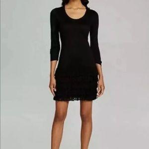 CALVIN KLEIN Knit Fringe Sweater Dress Black Scoop